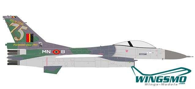 Herpa Wings Royal Belgian Air Force Lockheed Martin F-16A - 350 Squadron Ambiorix Florennes AB 75 Ye