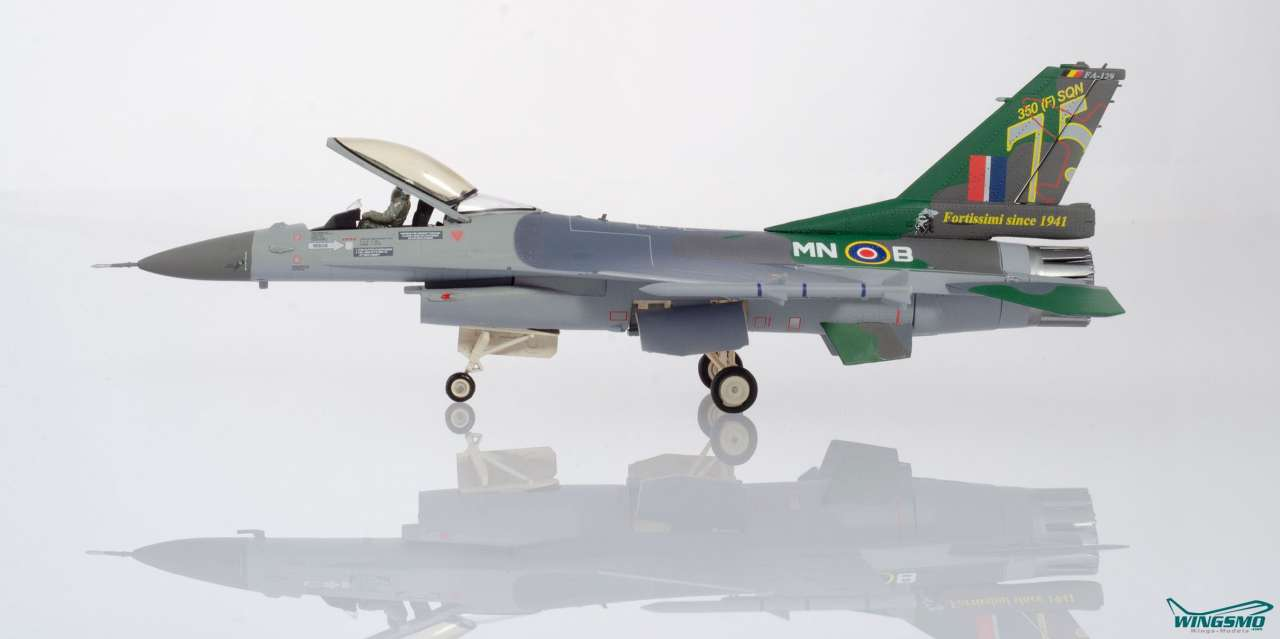 Herpa Wings Royal Belgian Air Force Lockheed Martin F-16A - 350 Squadron Ambiorix Florennes AB 75 Ye